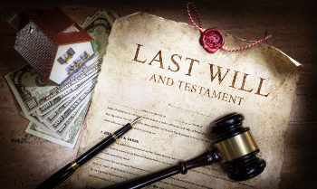 Last Will & Testament with Gavel, Money, and House