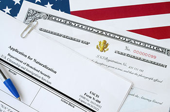 Application for Naturalization on an American Flag background