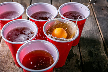 A game of beer pong