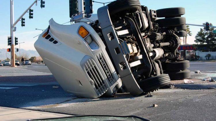 Truck Flipped onto It's Side