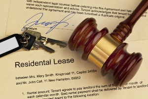 Residential Lease document with gavel and keys