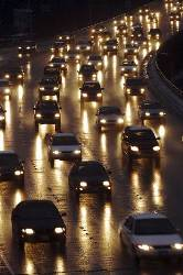 Traffic on the highway at night