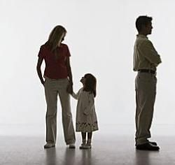 Father turning his back on the mother and child