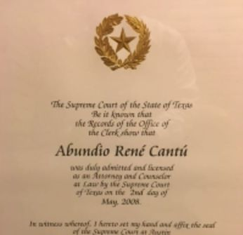 Law license document for Abundio Rene Cantu