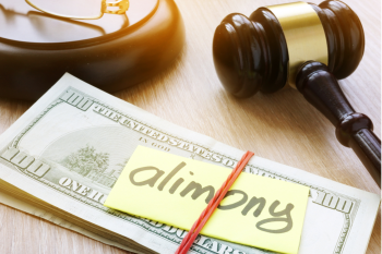 Stack of money labeled 'alimony' next to gavel.