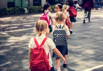 School kids waiting in line