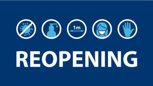 Reopening with social distancing guidelines graphic
