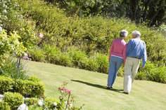 Senior couple walking in a field