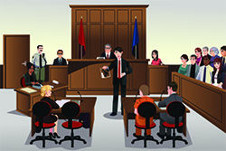 Graphic of a lawyer showcasing evidence in a courtroom
