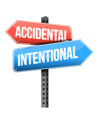 "Signs that real ""Accidental"" and ""Intentional"" pointing in opposite directions"