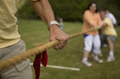 A family playing tug-o-war