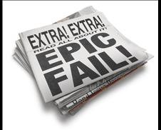 """Newspaper that reads """"Extra! Extra! Read all about it! Epic Fail!"""
