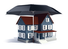 House with an umbrella over it