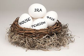 Nest with IRA, House, 401K, and Pension eggs