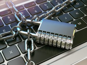 lock and chain on computer keyboard
