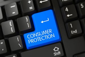 Large keyboard button for consumer protection