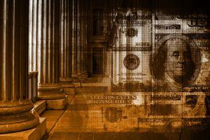 Corridor and pillars fading into hundred dollar bills