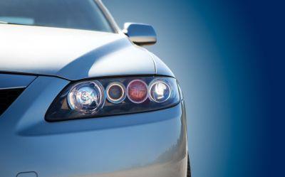 closeup of the headlight of a modern car