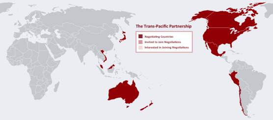 Map depicting the Trans-Pacific Partnership highlighting countries negotiated, invited to join the negotiations, and interested in joining the negotiations