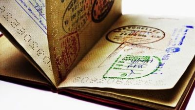 Fanned passport with stamps