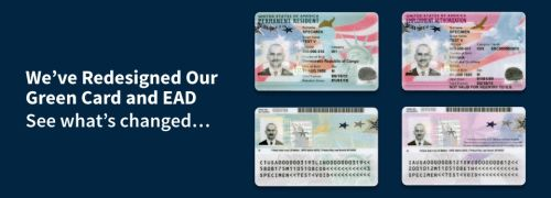 Redesigned Green Cards and EAD cards side by side