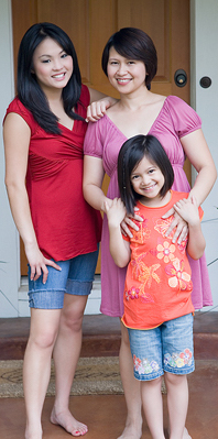 Two women and a little girl