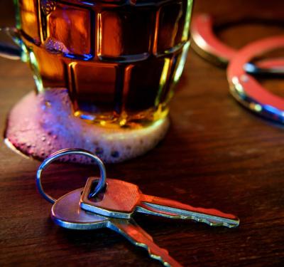 Keys next to drink