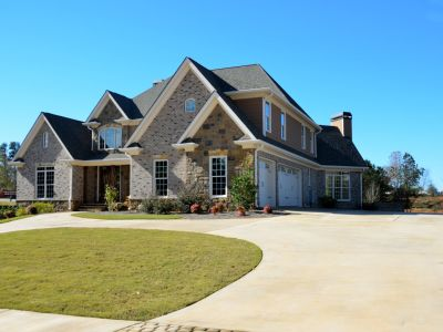 Large house with a half circle driveway