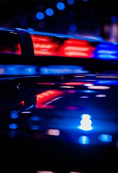 Close up of police car lights at night