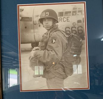 Bob Sr. in military uniform standing in front of a U.S. Airforce plane