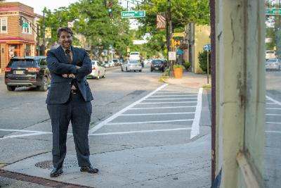 Attorney Fenza Standing on Sidewalk